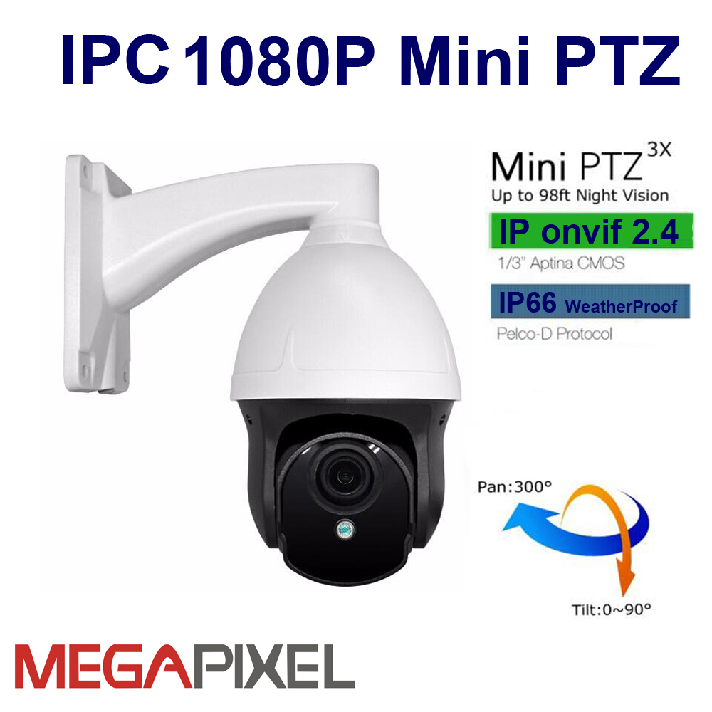 CCTV IP Camera mini PTZ 1080P IR Network Camera Pan tilt 3X zoom security video surveillance system supported hikvision nvr image