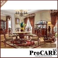 Французский новый Дизайн столовая Мебель мраморный стол деревянный резьба столовые сервизы