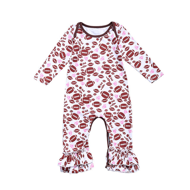 82068d15d3d Autumn Spring Newborn Toddler Kids Baby Girls Football Print Ruffle Romper  Long Sleeve Jumpsuit Infant Baby Girl Clothes