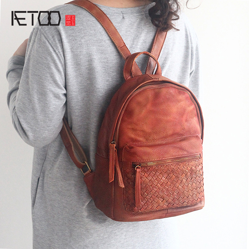 AETOO Spring and summer the new first layer of vegetable tanning backpack shoulder bag leather bags cow leather retro color