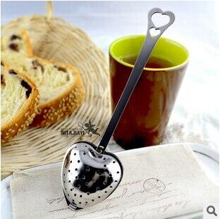 Nouveau 100 pièces coeur en forme de filtre boules de thé en acier inoxydable passoires à thé Oblique bâton de thé Tube infuseur de thé plus raide H-48