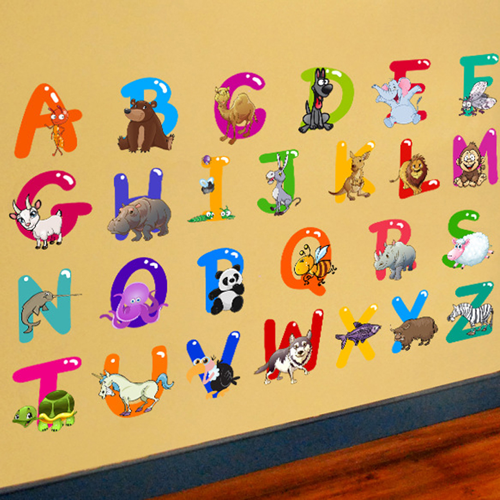2018 Cartoon Colorful 26 Letters alphabet Wall Stickers For Kids ...
