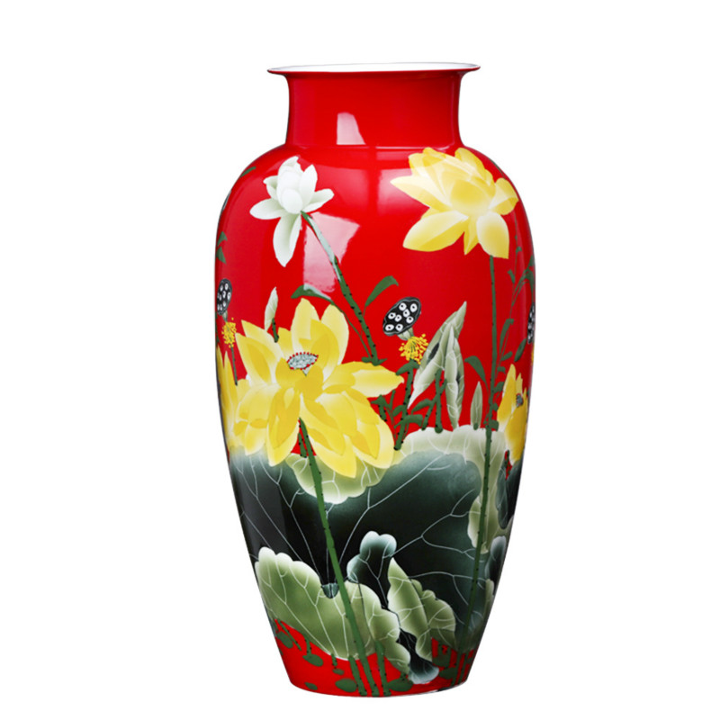 New Chinese Style Pure Hand Painted Lotus Flower Pattern Jingdezhen