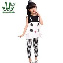 Для маленьких девочек летняя одежда с героями мультфильмов футболка + Зебра Брюки для девочек модная одежда для девочек костюм детская одежда для 4,6,8,10,12 год