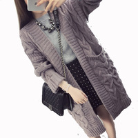 Autumn New Maternity Knit Cardigan Thickening Long Sleeved Sweater Cardigan Coat Winter Pregnant Women Clothes