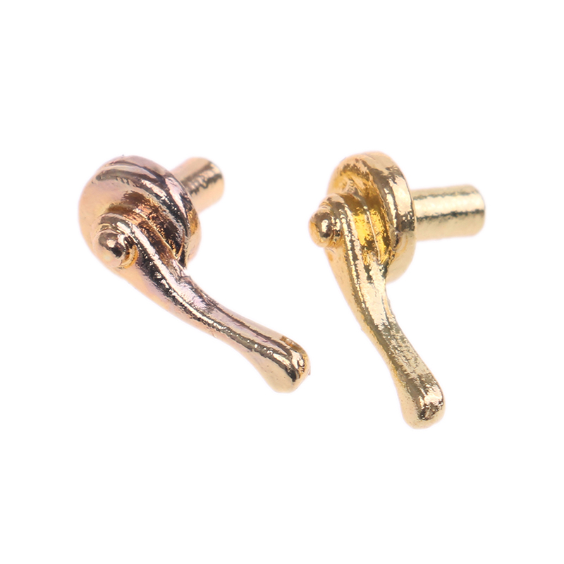 2020 Sale 2Pcs Toy Gold Dollhouse Miniatures Alloy Door Pull Handles Locks For 1/12 Dolls House Accsessories For Children Kids