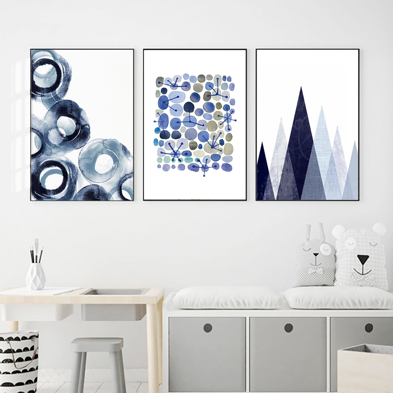 Abstract Circles Posters Watercolour Canvas Painting Navy ...