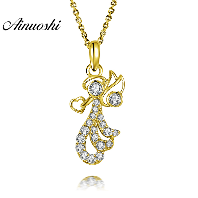 AINUOSHI 10K Solid Yellow Gold Pendant Litter Angel Pendant SONA Diamond Women Men Jewelry Cute Angel Design Separate Pendant цена и фото