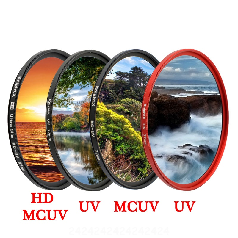 KnightX HD UV MCUV 49 52 55 58 62 67 72 <font><b>77</b></font> MM Camera <font><b>Lens</b></font> Filter For canon eos sony nikon 500d 1200d light d80 set 52MM 58MM image