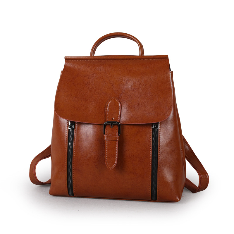 ФОТО  fashion women backpack 2016 leather backpacks genuine leather daypack zipper decorated real cow leather school bag