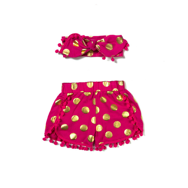 8b221b9cd Peach Gold Pom Girls Short set