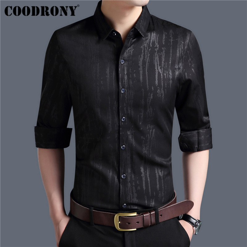 Coodrony Men Shirt Autumn New Arrival Long Sleeve Cotton Shirt Men Streetwear Fashion Slim Fit Business Casual Mnes Shirts 96004