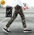 Moda 2016 Adolescente Flaco Lápiz de Los Pantalones de Los Hombres Stretch Camuflaje Hip Hop Casual Ejército Militar Estudiante Harem Pantalones 28-34