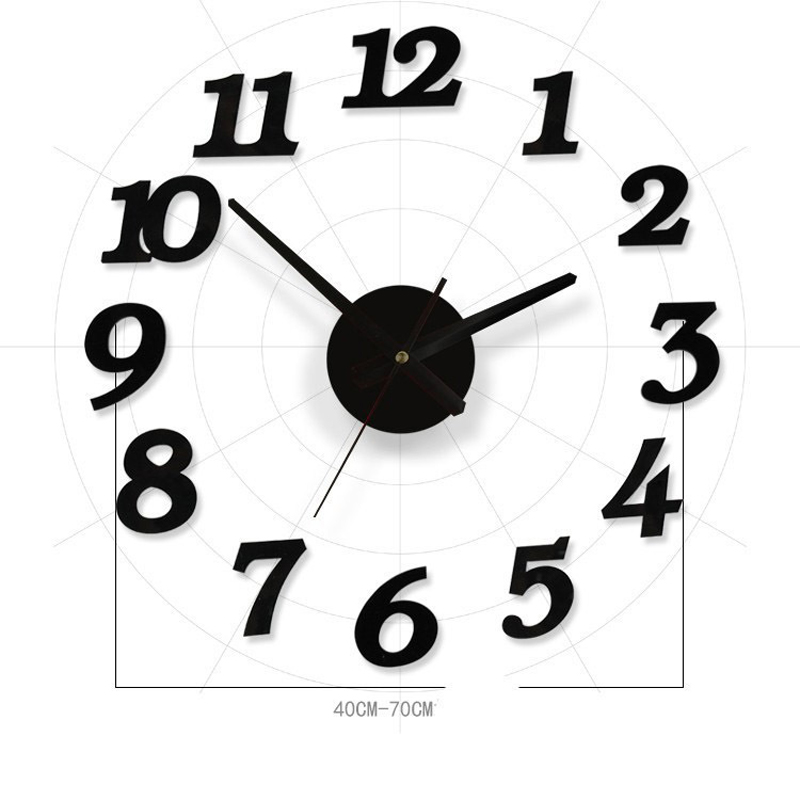 3d black diy wall clock circular mirror clock for room bedroom kitchen wall stickers modern design