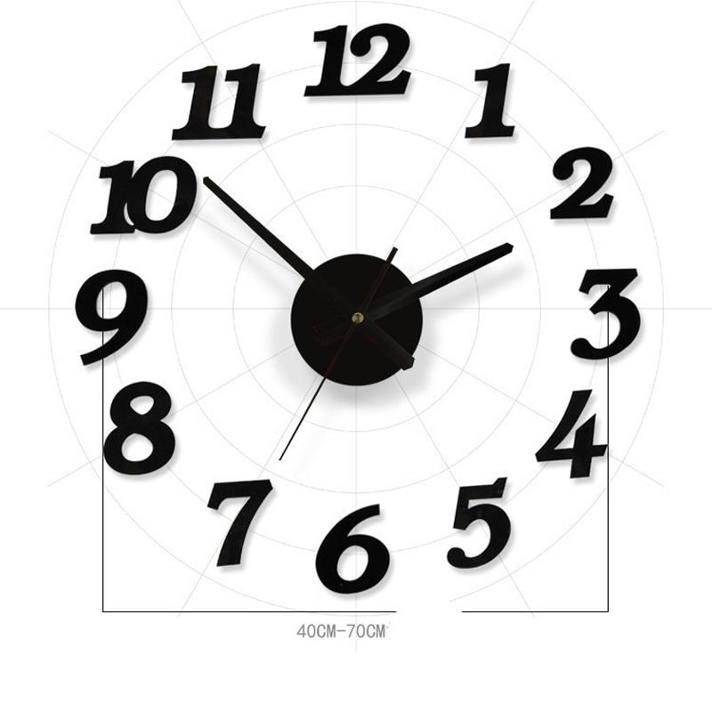 nero 3d diy orologio da parete circolare orologio specchio per camera cucina camera da letto wall stickers design moderno decora
