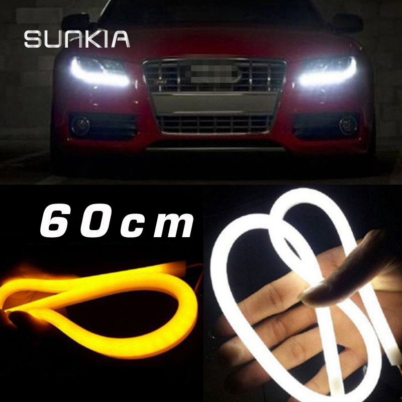 2Pcs/Pair SUNKIA 60CM 12W White+Yellow/Red/Blue Flexible Headlight Daytime Lamp Switchback Strip Angel Eye DRL External Light sunkia 45cm white red yellow blue white yellow flexible headlight daytime lamp switchback strip angel eye drl decorative light
