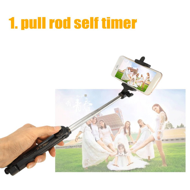 Wireless Bluetooth Remote Shutter Selfie Stick Mini Tripod Extendable Selfie Stick Universal for iOS Android Smartphone Dropship 3