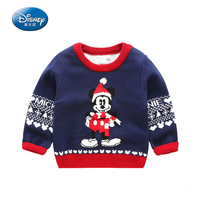 disney childrens clothing baby boy ventilation soft christmas sweater knit warm autumn cotton cartoon mickey mouse
