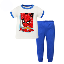 spiderman cotton children pajamas kids Short sleeve  Sleepwear boys and girls pyjamas set baby clothing minions pajamas sets