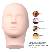Pro Silicone Training Mannequin Flat Head Closed Eyes for Practice Make Up for Eyelash Extensions Makeup Face Painting training mannequin 2017 cosplay mannequin flat head practice make up massage training model eyelash extensions drop ship 17aug29