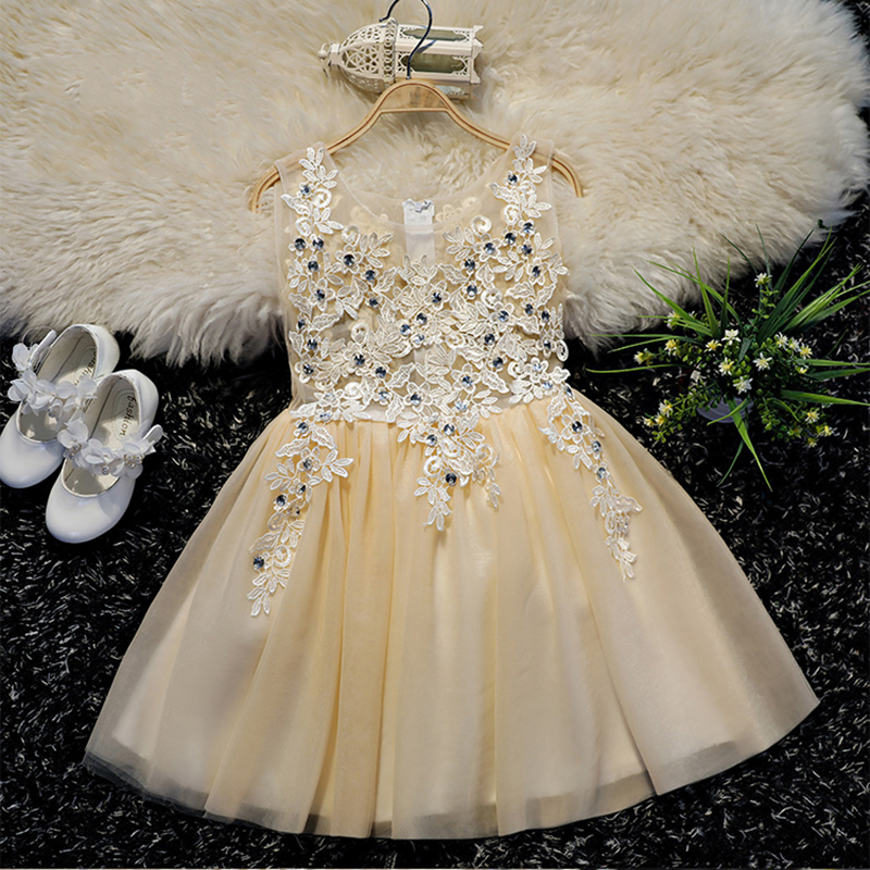 Luxury Diamond Flower Girl Dresses Appliques Ball Gown Girls Formal Dress Hollow out Kids Pageant Dress Knee Length B25 new arrival fashion summer girls kids sleeveless flower dress elegant sweet children girls knee length ball gown dress
