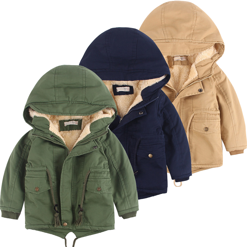New Kids Winter Jacket For Boys Coat Plus Velvet Girls Jackets And Coats Cotton Thick Warm Parka Hooded Children Outerwear Coat 2017 winter jacket men cotton padded thick hooded fur collar mens jackets and coats casual parka plus size 4xl coat male