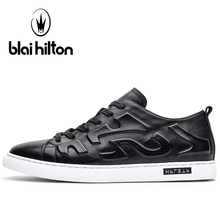 Blaibilton Genuine Leather Skateboard Shoes Man Brand Lace Up Men's Sneakers 2017 New Summer Breathable Flat Sport Shoes For Men