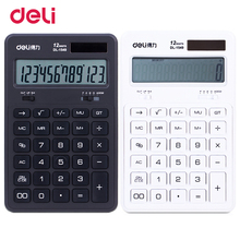 Deli Solar Energy 12 Digits Adjustable viewing angle desktop calculator profession durable plastic buttons for office Finance