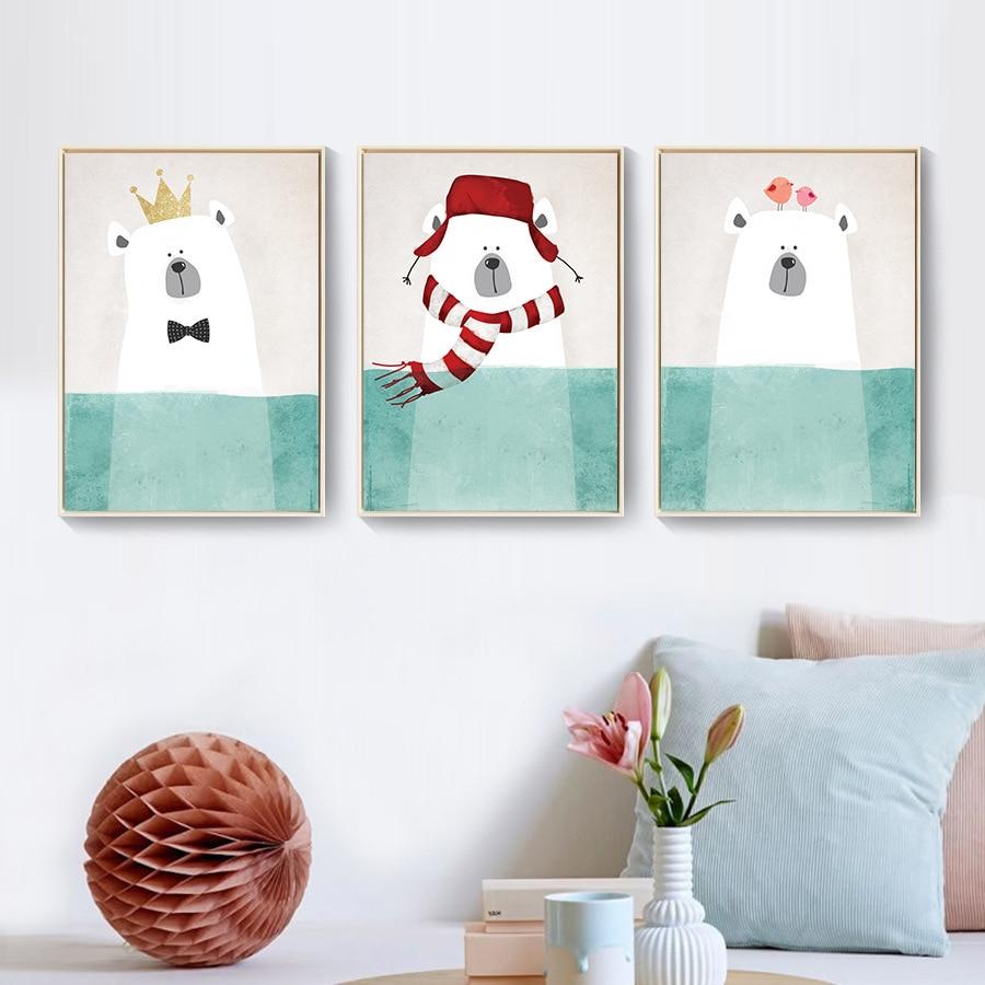 Moderní malba na plátně Nordic Kawaii Zvířata Bear Hippo Plakát Tisk školky Nástěnné umění Obrázek Dětský pokoj Dekorace plakáty