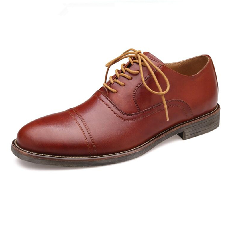 US Size 7 11 Mens Genuine Leather Lace Up Cap Toe Oxfords Fromal Dress Shoes Man Casual Oxfords Wedding Shoes in Oxfords from Shoes