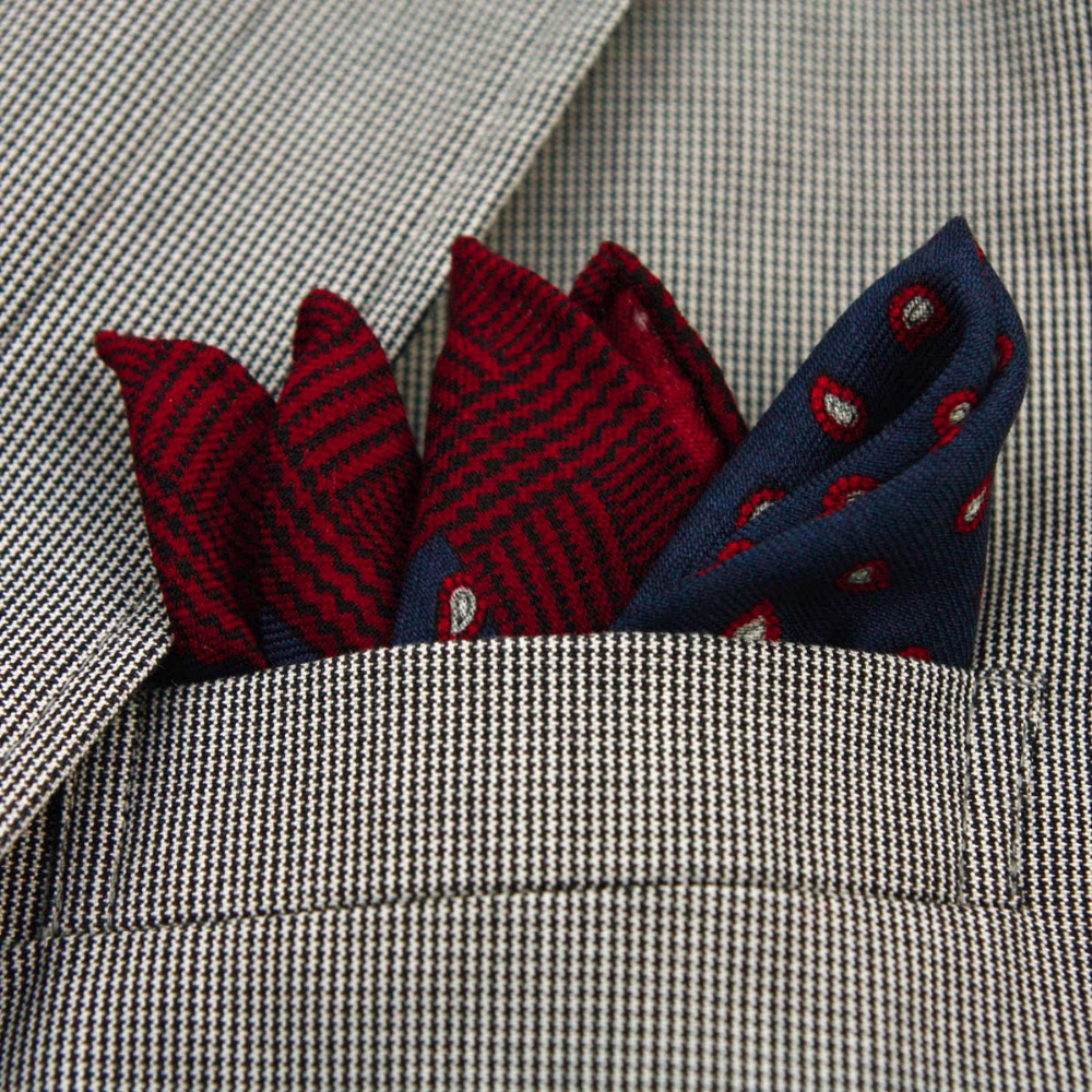 High Quality 100% Wool Fashion Pocket Handkerchief Luxury Paisley Pattern Pocket Square Hanky With Giftbox