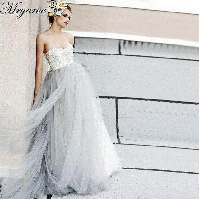 Mryarce Two Tone Wedding Dress Sweetheart Lace Bodice Tulle Skirt Floor  Length Bridal Gowns