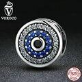 Voroco real 100% prata esterlina 925 cristais azuis olhos rodada bead encantos fit pandora charm bracelets & bangles jóias c092