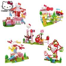 Hello Kitty Mini Block Amusement Park Brick Building Blocks Toys Kid Assembly DIY Children Street City View Educational 3D Model цены