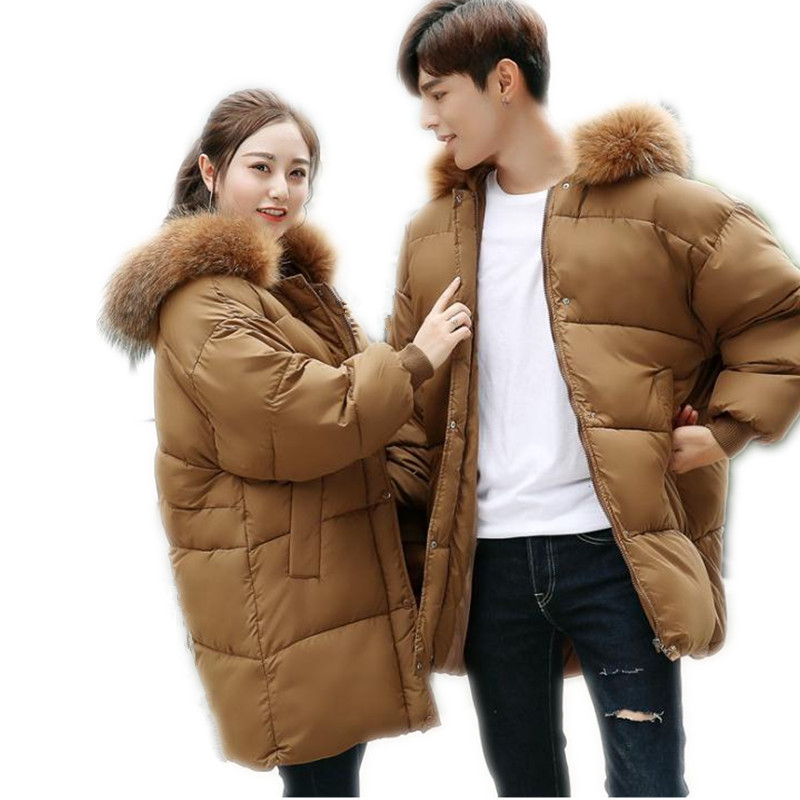 2017New Winter Couples Down Cotton Jacket Parka Female Hooded Large Fur Collar Thicken Loose Wide-Waisted Cotton Warm ParkaCQ543