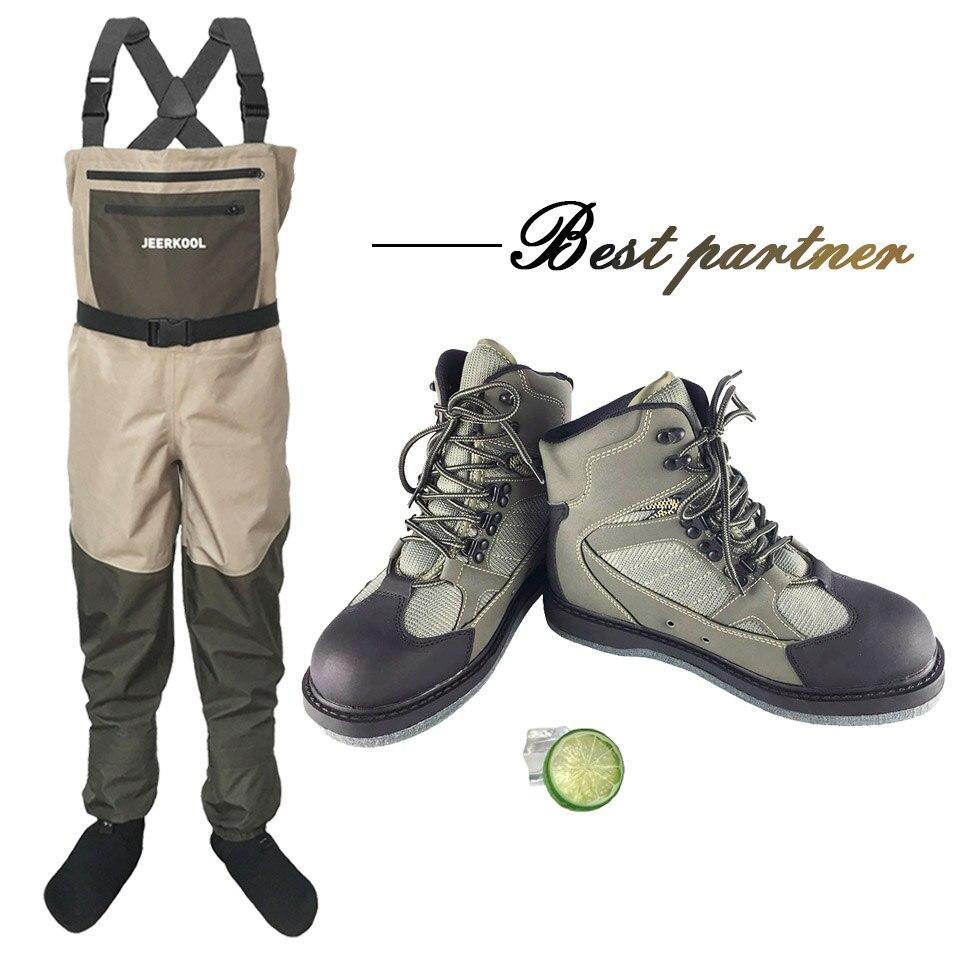 Valeur Costumes (Pêche À la Mouche Chaussures + Pantalon) respirant Rock Patauger Chaussures bottes de Feutre unique à séchage rapide No-slip En Plein Air Randonnée Chasse
