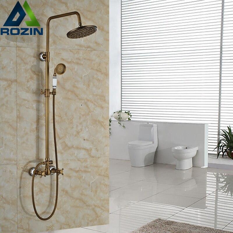 Antique Brass Wall Mount Shower Set Faucet Bathroom Adjust Height 8 Rainfall Shower Head Mixer Taps