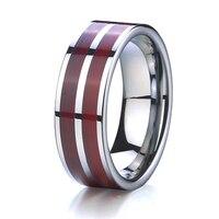 Drewno wedding band pierścień wolframu mężczyzn biżuteria najlepsze mąż prezent klasyczne USA projekty biżuteria anillos