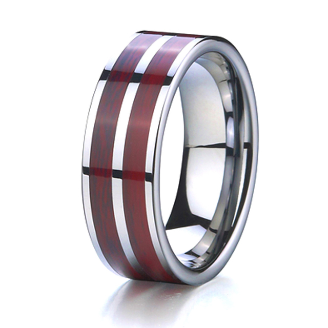 Wood Wedding Band Tungsten Ring Men Jewelry Best Husband Gift Clic Usa Jewellery Designs Anillos