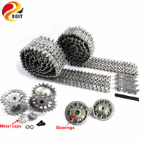 Metal Silver Tracks sprockets early with metal caps idler wheels with bearings for Heng Long 3818 1 16 RC Tiger 1 tank