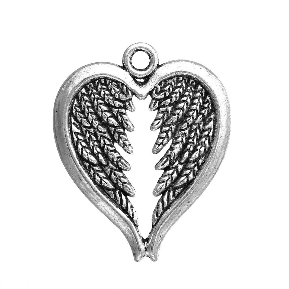 DoreenBeads Zinc Based Alloy Antique Silver Pendants Angel Wing Heart DIY Jewelry Components 30mm(1 1/8) x 24mm(1), 20 PCs
