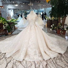 Off shoulder Wedding Dress with train crystal vintage wedding dress 2019 ball gown princess applique sweetheart for bride HTL263(China)