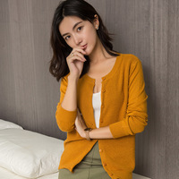 Women's Knitted Round Neck Cardigan Short Sweater Female Casual Cashmere Coat Single Breasted Knitted Tops Plus Size Wholesale