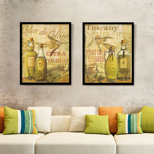 Olive Oil Bottle Printed on Canvas Painting Modern Kitchen Wall ...