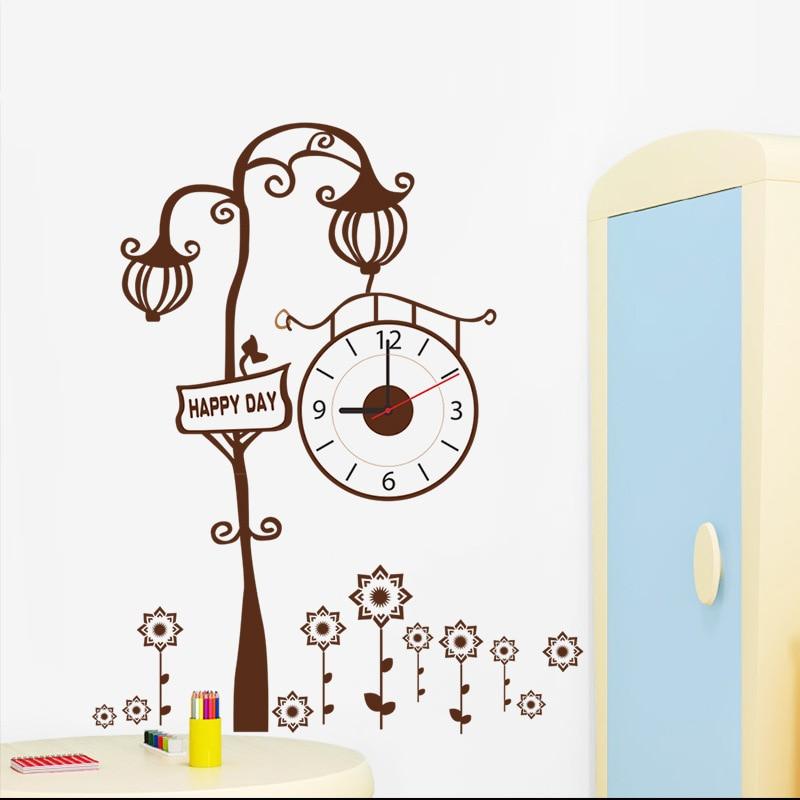 % Creative diy lighthouse tree flowers wall stickers clocks fashion watch 3d clock living room kids room home decor Art Poster