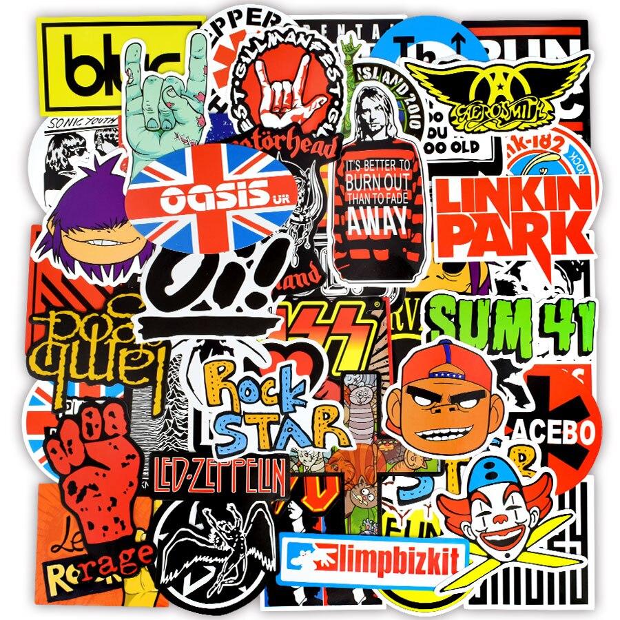 100 piezas de pegatinas de Rock and Roll banda Retro música Graffiti  pegatina resistente al agua para bricolaje guitarra bajo Laptop maleta  Snowboard 09a73caa599