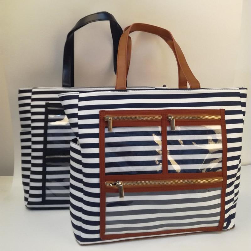 캔버스 스트라이프 pvc 디스플레이 가방 도매 공백 모든 에센셜 오일 지갑 립스틱 토트 분명 주머니와 함께 dom106576-에서탑 핸드백부터 수화물 & 가방 의  그룹 1
