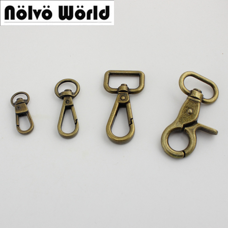 100pcs 9mm 11mm 19mm 20mm Bronze trigger snap hook handbag purse adjusted swivel clasp hooks hardware accessory strap hook 50pc цена