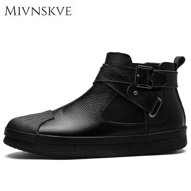 MIVNSKVE 2017 Autumn/Winter Fashion Casual Men Shoes High Quality Lace Up Genuine Leather Shoes Men Black Flats Fashion Sneakers high quality men casual shoes fashion lace up air mesh shoe men s 2017 autumn design breathable lightweight walking shoes e62