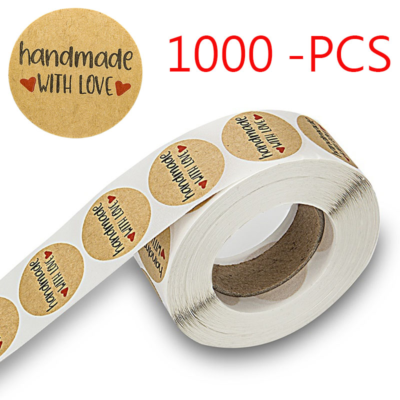 1000Pcs 1Inch Round handmade with love Stickers Label, happy planner for Scrapbooking letter stickers Home Decor